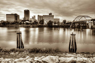 Photograph - Little Rock Arkansas Vintage Sepia Skyline by Gregory Ballos