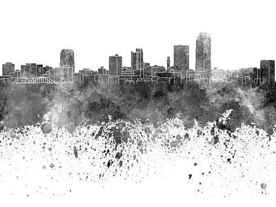 Little Rock Skyline In Black Watercolor On White Background Art Print by Pablo Romero