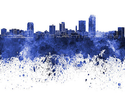Arkansas Painting - Little Rock Skyline In Blue Watercolor On White Background by Pablo Romero