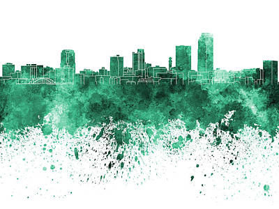 Little Rock Skyline In Green Watercolor On White Background Art Print by Pablo Romero