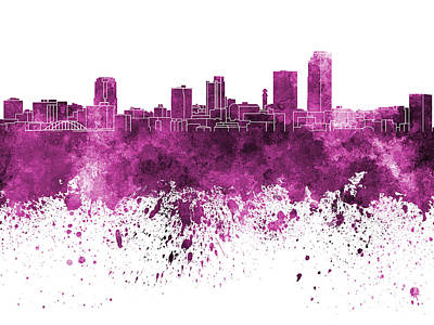 Little Rock Skyline In Pink Watercolor On White Background Art Print by Pablo Romero