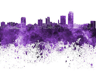 Arkansas Painting - Little Rock Skyline In Purple Watercolor On White Background by Pablo Romero