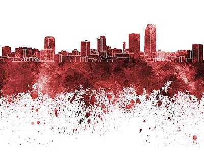 Little Rock Skyline In Red Watercolor On White Background Art Print by Pablo Romero