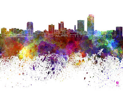 Little Rock Skyline In Watercolor On White Background Art Print by Pablo Romero