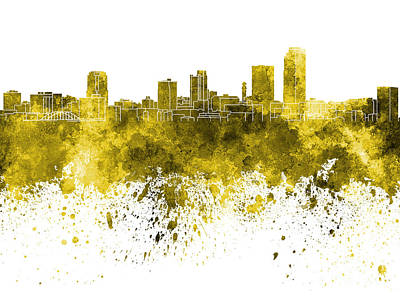 Arkansas Painting - Little Rock Skyline In Yellow Watercolor On White Background by Pablo Romero