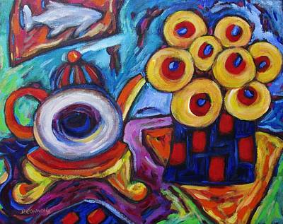 Painting - Little Round Teapot And Flowers by Dianne Connolly