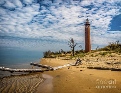 Photograph - Little Sable Light  From Lake Michigan by Nick Zelinsky