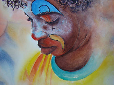 Sad Clown Painting - Little Sad Clown by Myra Evans