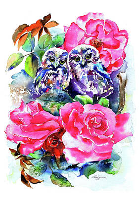 Little Saw Whet Owls Art Print by Isabel Salvador