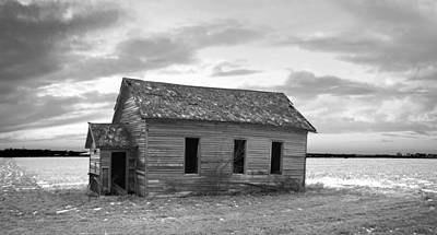 Photograph - Little School On The Prairie Bw by Bonfire Photography