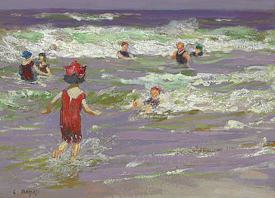 People On Beach Wall Art - Painting - Little Sea Bather by Edward Henry Potthast