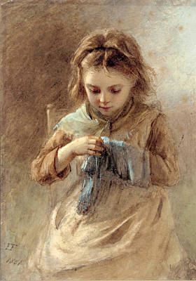 Drawing - Little Seamstress by Emily Farmer