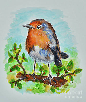 Painting - Little Serious Robin by Olga Hamilton