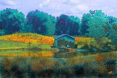 Painting - Little Shed By The Pond by CHAZ Daugherty