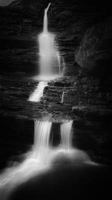 Photograph - Little Sheldons Falls Black And White by Bill Wakeley