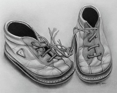 Drawing - Little Shoes by Becky West
