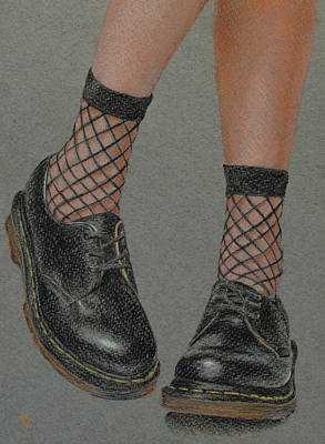 Drawing - Little Socks, Big Shoes by Wendy Booth
