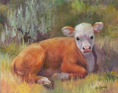 Cow Painting - Little Sweety  Hereford Calf Cow Painting by Kim Corpany
