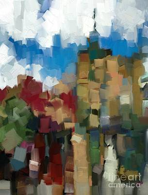 Little Town Abstract Art Print by Carrie Joy Byrnes