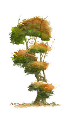 Bonsai Tree Painting - Little Tree 23 by Sean Seal