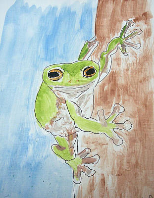 Little Tree Frog Art Print by Jennifer Coleman