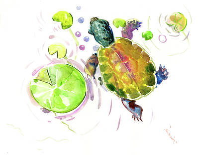 Painting - Little Turtle And Lily Pads by Suren Nersisyan