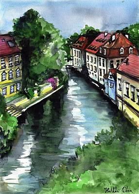 Art Print featuring the painting Little Venice In Prague Certovka Canal by Dora Hathazi Mendes