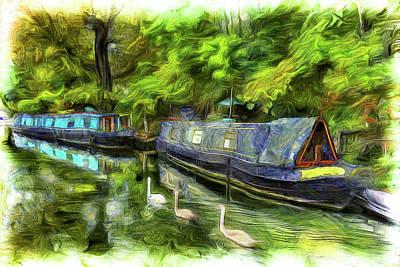 Swan Mixed Media - Little Venice London Van Gogh Art by David Pyatt