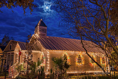 Little Village Church With Star From Heaven Above The Steeple Art Print by Bonnie Barry