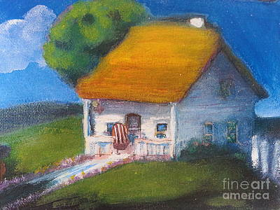 Country Cottage Mixed Media - Little Village Cottage by Marcy  Orendorff