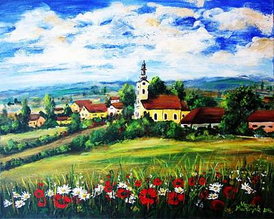 Marguerite Flowers Painting - Little Village by Vesna Martinjak