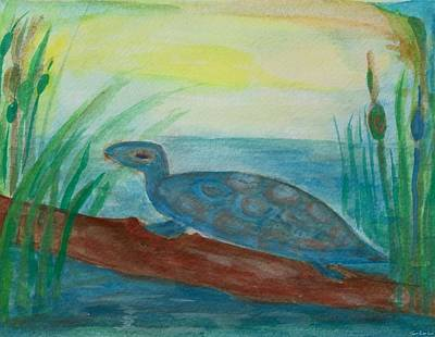 Water Color Painting - Little Water Turtle by Tomer Rosen Grace