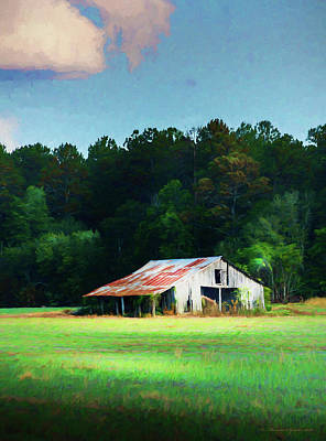 Abstract Digital Art Photograph - Little White Barn by Marvin Spates