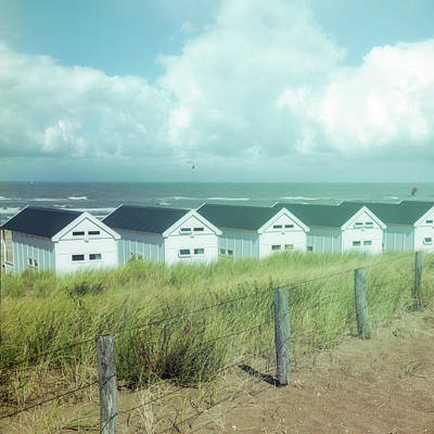 Photograph - Little White Beach Houses Soft Morning Blues by Debra and Dave Vanderlaan