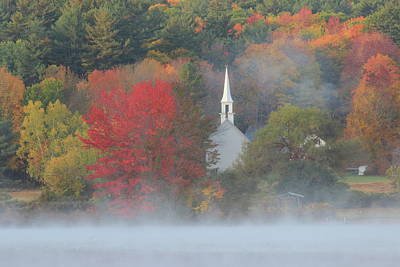 Photograph - Little White Church Autumn Fog by John Burk