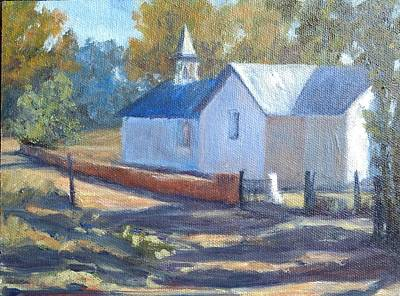 Painting - Little White Church In New Mexico by Candi Hogan
