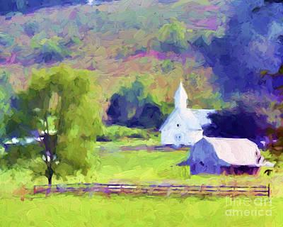 Photograph - Little White Church In Summer by Kerri Farley
