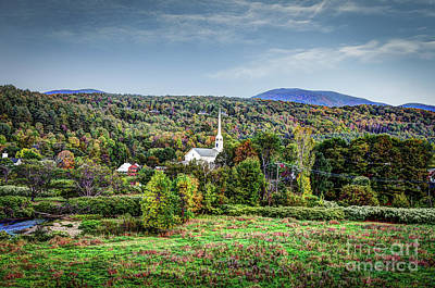 Photograph - Little White Church In The Village Of Stowe by Deborah Klubertanz