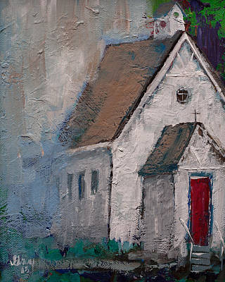 Pallet Knife Painting - Little White Church On The Corner Christian Painting  by Gray Artus