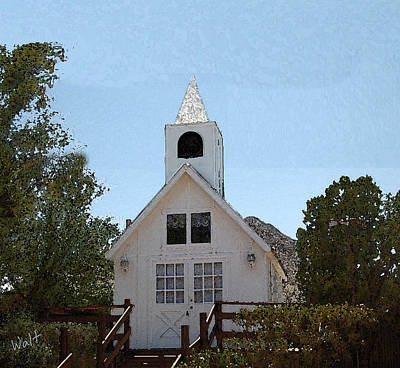 Print featuring the digital art Little White Church by Walter Chamberlain