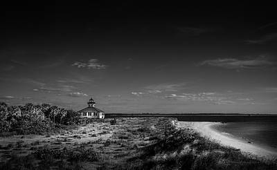 Photograph - Little White Lighthouse Bw by Marvin Spates