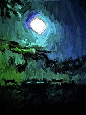 Digital Art - Little White Moon On The Black Sea by Jackie VanO