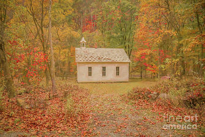 Digital Art - Little White Schoolhouse by Randy Steele