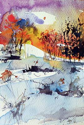 Winter Landscape Painting - Little Winter by Kovacs Anna Brigitta