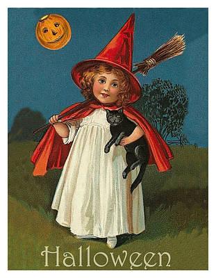 Pumpkin Art Card Mixed Media - Little Witch Girl At Halloween Night by Long Shot
