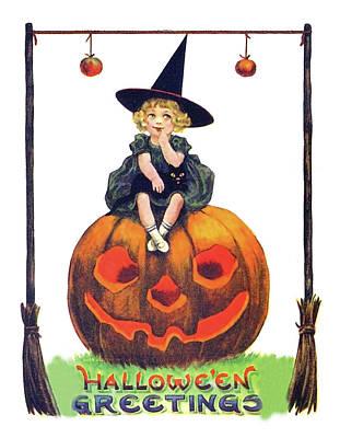 Pumpkin Art Card Mixed Media - Little Witch On A Big Pumpkin by Long Shot