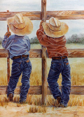 Painting - Little Wranglers by Ann Peck