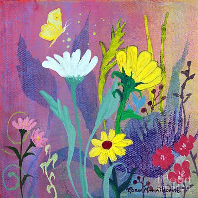 Painting - Little Yellow Butterfly With Daisies by Robin Maria Pedrero