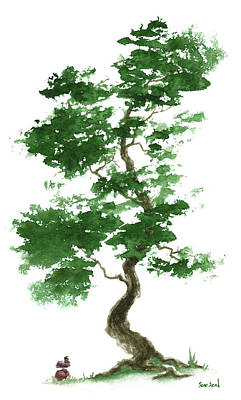 Environment Painting - Little Zen Tree 365 by Sean Seal