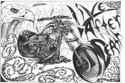 Chopper Drawing - Live After Death by Derek Hayes